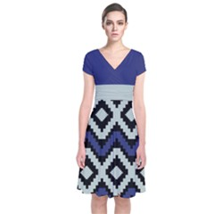 Blue Chevron Short Sleeve Front Wrap Dress by CoolDesigns