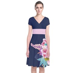 Navy Blossom Japanese Style Cherry Blossom Short Sleeve Front Wrap Dress by CoolDesigns