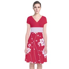 Red Blossom Japanese Style Cherry Blossom Short Sleeve Front Wrap Dress by CoolDesigns