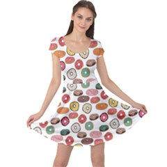 Colorful Donuts Pattern Cap Sleeve Dress by CoolDesigns