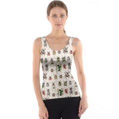 Gray Pattern with Watercolor Beetles Tank Top by CoolDesigns