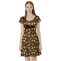 Colorful Pattern Set Of Fruit Short Sleeve Skater Dress by CoolDesigns