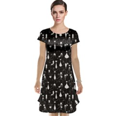 Black White Cats on Black Pattern for Your Design Cap Sleeve Nightdress by CoolDesigns