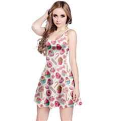 Pink Yummy Colorful Sweet Lollipop Candy Macaroon Cupcake Donut Seamless Sleeveless Skater Dress by CoolDesigns