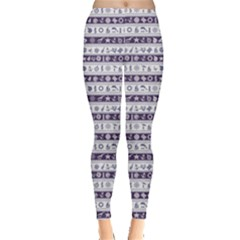 Blue Borders With Nautical And Sea Symbols Leggings by CoolDesigns