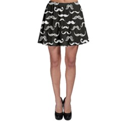 Black Pattern Hipster White Mustache Skater Skirt by CoolDesigns