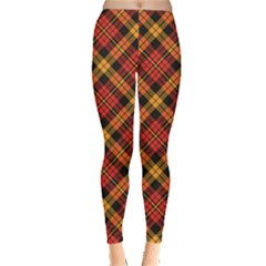 Red Textured Tartan Plaid Pattern Leggings by CoolDesigns