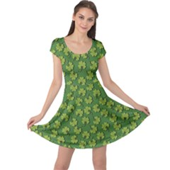Green Clover Pattern For St Patricks Day Cap Sleeve Dress by CoolDesigns