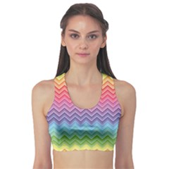 Colorful Chevron Rainbow Colored Pattern Women s Sport Bra by CoolDesigns