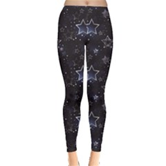 Black Blue Night With Shiny Silver Stars Women s Leggings by CoolDesigns