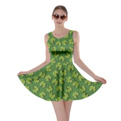 Green Clover Pattern For St Patricks Day Skater Dress by CoolDesigns