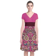 Pink Aztec Short Sleeve Front Wrap Dress by CoolDesigns