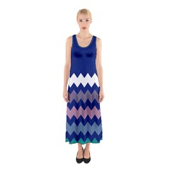 Blue Chevron Sleeveless Maxi Dress by CoolDesigns