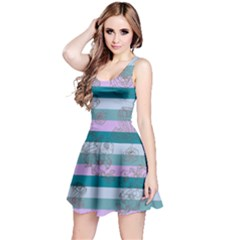 MintStripes Sleeveless Skater Dress by CoolDesigns