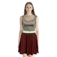 Brown Mint Stripes Split Back Mini Dress  by CoolDesigns