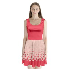 Strawberry Red Triangle Split Back Mini Dress  by CoolDesigns