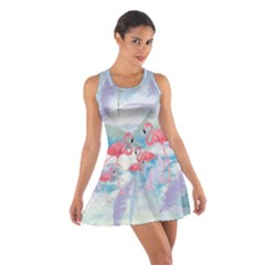 Flamingo Feather  Sky Cotton Racerback Dress by CoolDesigns