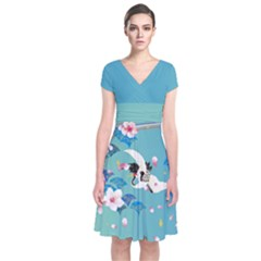 Crane Blue Japanese Style Cherry Blossom Short Sleeve Front Wrap Dress by CoolDesigns