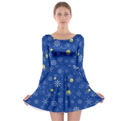 Blue Snowy Long Sleeve Skater Dress by CoolDesigns