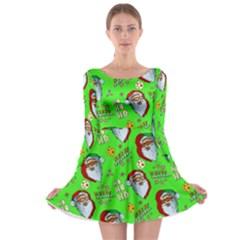 Neon Green Santa Long Sleeve Skater Dress by CoolDesigns