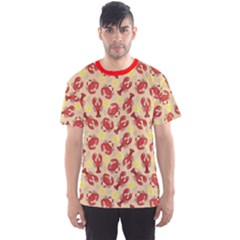 Red Lobster And Crab Lemon And Dill Pattern Men s Sport Mesh Tee by CoolDesigns