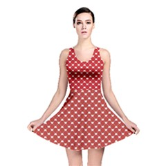 Red Heart Pattern On Red Reversible Skater Dress by CoolDesigns