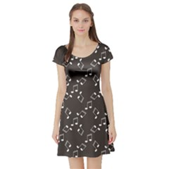 Black Music Elements Notes Web Flat Design Gray Pattern Short Sleeve Skater Dress by CoolDesigns