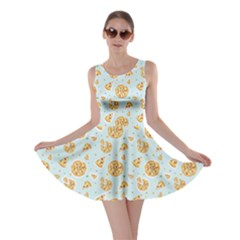 Gray Colorful Cartoon Pizza Texture with Confetti Skater Dress by CoolDesigns