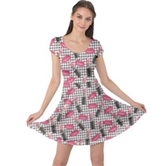 Pink Tweed Pattern Kissing Lips Lipsticks Liners Cap Sleeve Dress by CoolDesigns