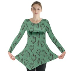 Green Halloween Seamless Design Pattern Long Sleeve Tunic Top by CoolDesigns