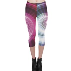 Colorful Neon Lines Design On Dark Capri Leggings by CoolDesigns