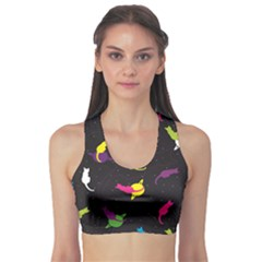 Colorful Space with Cats Saturn and Stars Women s Sport Bra by CoolDesigns