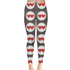 Red Two Hearts Badges Lovely Sewed Romantic Valentines Day Seamless Women s Leggings by CoolDesigns