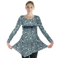 Blue Water With Pattern Tree Japanese Cherry Blossom Long Sleeve Tunic Top by CoolDesigns