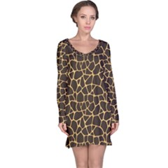 Brown A Brown And Yellow Giraffe Spotted Repeatable Long Sleeve Nightdress by CoolDesigns
