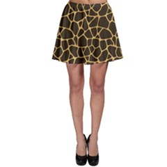Brown A Brown And Yellow Giraffe Spotted Repeatable Skater Skirt by CoolDesigns