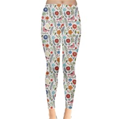Yellow Floral Flowers Plants Pattern Leggings by CoolDesigns