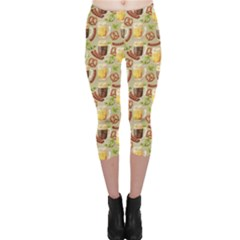 Colorful Glass Mugs Lager Dark Beer Hop Pretzel Sausage Pattern Capri Leggings by CoolDesigns