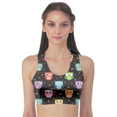 Black Pattern With Colorful Owls On Dark Women s Sport Bra by CoolDesigns