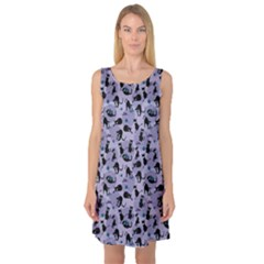 Blue Cats In Acction Pattern Sleeveless Satin Nightdress by CoolDesigns