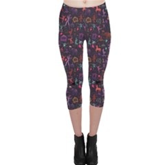 Blue Pattern Colorful Circus Magician Elephant Dancer Capri Leggings by CoolDesigns