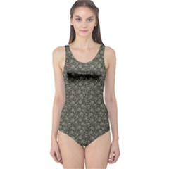 Dark Cannabis Leafs With Skulls Pattern Women s One Piece Swimsuit by CoolDesigns