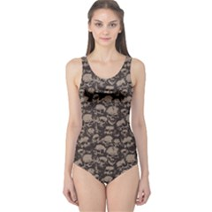 Black Grunge Pattern With Skulls Illustration Women s One Piece Swimsuit by CoolDesigns