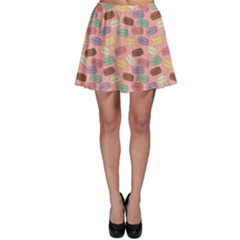 Pink Cute Retro Colored Macarons Pattern Skater Dress by CoolDesigns