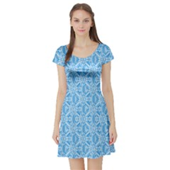 Blue Abstract Pattern Short Sleeved Skater Dress by CoolDesigns