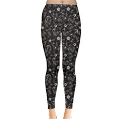 Black Abstract Flower Pattern Leggings by CoolDesigns