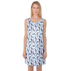 Blue Watercolor Pattern With Dolphins Sleeveless Satin Nightdress by CoolDesigns