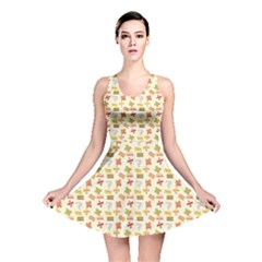 Yellow Pattern Of Basic Math Symbols Pattern Reversible Skater Dress by CoolDesigns