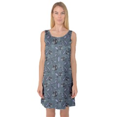 Blue Hedgehogs in the Night Forest Pattern Sleeveless Satin Nightdress by CoolDesigns