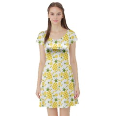 Yellow Pineapple Pattern Short Sleeve Skater Dress by cowcowclothing